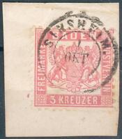 Baden Kl. Briefstück Mi.-Nr.18o - Doppelkreis SINSHEIM selten, pracht
