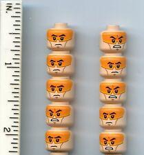 Star Wars LEGO x 10 Minifig, Head Dual Sided Orange Visor SW Clone Pilot head