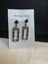 Sterling Silver INLAID Multi-Stone EARRINGS Dangle Studs