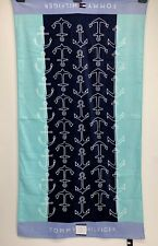 Tommy Hilfiger 35 x 66 Inch White Anchors Blue spell out Color Block Beach Towel
