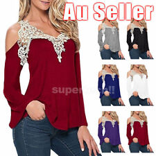 Unbranded Lace Long Sleeve Solid Tops for Women