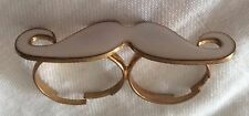 White Moustache Double Finger Ring.  5cm Wide.  Gold Colour Rings.  Adjustable
