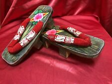 Vintage Japanese Geisha Shoes Geta Sandals Home Decor Kimono Hand Painted