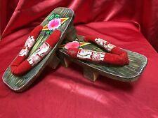Vintage Japanese Geisha Shoes Geta Sandals Home Decor Kimono Hand Painted
