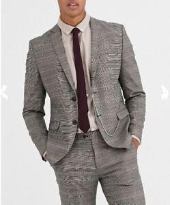 Jack & Jones Premium slim fit chain suit jacket in brown UK size 38 R