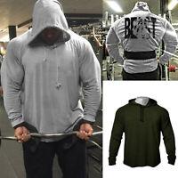 Men's GYM Fitness Bodybuilding High Quality Back Beast Print Hoodies Sweatshirts