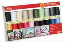 Gutermann Sew All Thread Set LARGE - 20x 100m Reels Mix Colours - Classic Basics