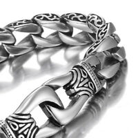 MENDINO Men's 316L Stainless Steel Bracelet Dragon Curb Link Chain Silver Tone