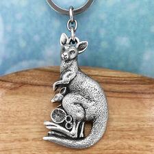Kangaroo Souvenir Pewter Keyring Keychain Australiana Gift, Australian Made