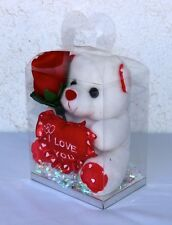"7"" White Teddy Bear W/ Red Flower in Clear Box— I LOVE YOU—New"