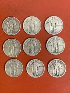 Lot of (9) 1920 P Standing Liberty Quarters NICE ORIGINAL