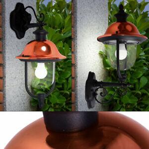 VINTAGE LED Außen Wand Beleuchtung Kupfer Glas Lampe ALU Terrassen Leuchte