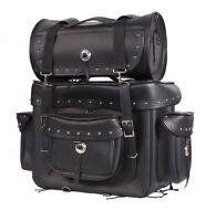 MOTORCYCLE SISSY T BAR TRAVEL LUGGAGE BAG Black W/ Studs 2 Piece Bag Set Harley