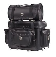 MOTORCYCLE SISSY T BAR TRAVEL LUGGAGE BAG Black W/ Studs 2 Piece Bag Set Harley