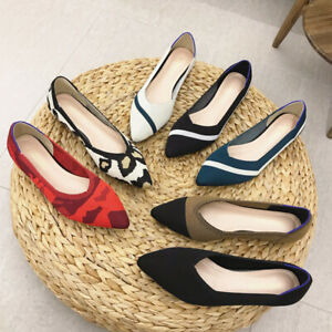 New Comfy Flats Knitting Fabric Striped Soft Mom Chic Shoes Walking Flats Shoes