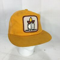 Vintage PRIDE IN TOBACCO Patch Hat Cap Mesh Trucker Snapback Yellow RJ Reynolds