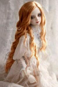"""1/3 8-9-10"""" spiral Curls Curly Wave BJD Doll Wig Hair Light Golden Brown Auburn"""