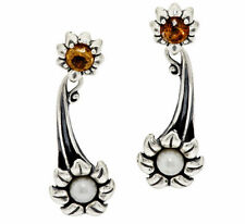 Carolyn Pollack Cultured Pearl & Citrine Sterling Flower Earrings