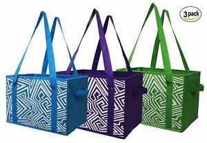 Reusable Grocery Bag Shopping Box Tote COLLAPSIBLE BAG Reinforced (Set of 3)