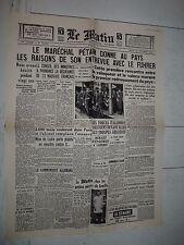 FAC-SIMILE A LA UNE JOURNAL LE MATIN 31/10 1940 COLLABORATION MONTOIRE