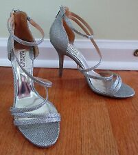Badgley Mischka Landmark Platinum Diamond  Strappy Heels Bridal Pumps 8.5 M