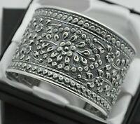 Wide & Heavy Vintage Floral Design Cuff Bracelet in Solid 925 Sterling Silver