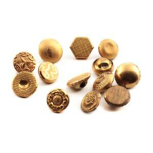 Lot (13) Vintage German brass metal Fancy doll flower dimi 2 part buttons