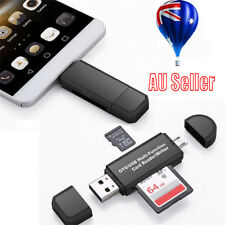 3 In 1 Micro OTG to USB 2.0 Adapter SD/ SD Card Reader For Smartphones/PC AU MN