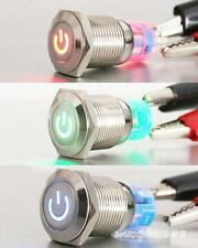 1pc  Angel Eye BULE Led 12mm 12V Metal Switch Momentary Push Power Button