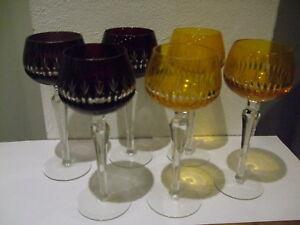 5+1 Römer Kristall Weingläser Weinglas Glas Gläser Orange Weinrot Lila Schliff