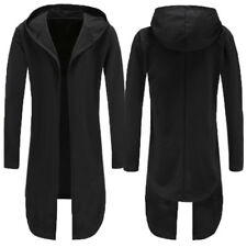 Men Winter Trench Coat Jacket Cardigan Longline Hoodded Outwear Cape Overcoat