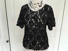 Black vintage lace top size S short sleeves with black beading,sequins & flower
