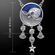 Sea Turtle with Shells Inlay Sterling Silver Necklace by Peter Stone Jewelry