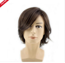 Fashion Men's man Medium long Dark Brown Cosplay Natural Hair Wigs