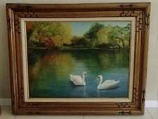 "VTG Pat Ricciardi Signed Autumn Swan Lake Oil Painting Framed 32"" x 26"""