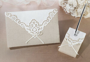 Country Lace Tan And Ivory Wedding Guest Book And Pen Set