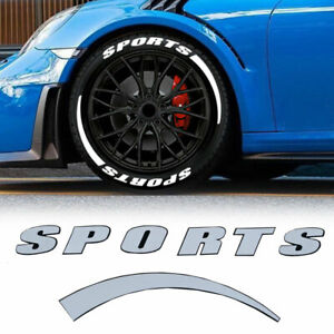 """Car SPORTS Tire Lettering Permanent Sticker 1.06"""" For 14""""-22"""" 8 Kits Wheel Decal"""