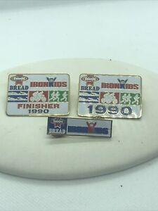 3 Vtg IRON KIDS  Bread 1990 Triathlon LAPEL Cap HAT PIN