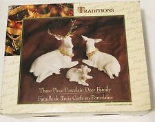 Christmas Traditions 3 Piece Porcelain Deer Family White/Gold Christmas Decor