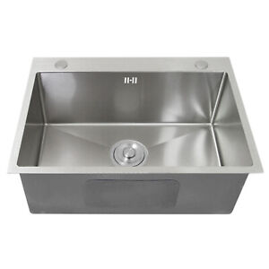 Kitchen Sink Stainless Steel Square Brushed Handmade Commercial Single Bowl