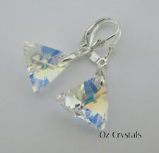 Lg 16mm Crystal AB Triangle Earring's made with Swarovski & Sterling Silver