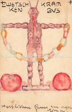 Ak Handgemalt Gruss vom Krampus Zwetschkenkrampus Äpfel Perchtoldsdorf 1907