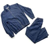 Scandia Woods Mens Size Medium VTG Blue Denim Jacket & Pant Jogger Suit EUC