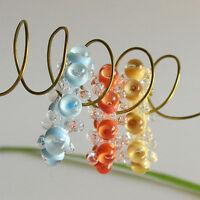 RachelArt Glass Disc Beads Handmade Lampwork Sky Blue Coral Banana Cream