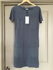 LACOSTE  Blue Gray Silk DRESS size  4 US / EUR 34- Brand New with tags