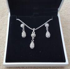 "SWAROVSKI Vintage Jewellery Silver Necklace 7.5"" Earring Set Pendant Drop Style"
