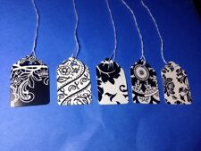 Lot 100 BlackWhite Print Designer Lace French Price Tags Strung #5 Retail 5 Gift