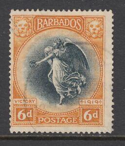 "Barbados Sc 147 used. 1920 6p orange & black ""Victory"", light cancel, sound, F-V"