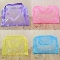 Chic Floral Print Transparent Waterproof Cosmetic Bag Bathing Toiletry Pouch