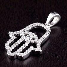 Women 925 Sterling Silver CZ Hamsa Hand Of God Eye Good Luck Charm Pendant White